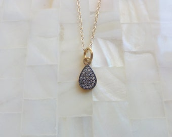 Oxidized Vermeil White Topaz Pave Teardrop Pendant on Gold Chain Necklace (N1679)