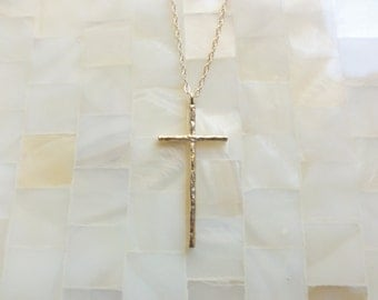 Gold Hammered Cross Pendant on Gold Chain Necklace (N1703)