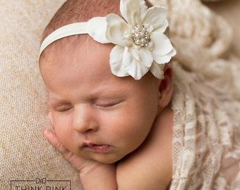 Baby Headband, Newborn Headband, baby girl headband, Christening headband, Ivory baby headband, flower headband, Baptism headband, Baby Bows