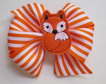 Orange Fox Feltie Hair Bow - Boutique Bow - Fox Bow - Toddler Bow - Little Girl Bow