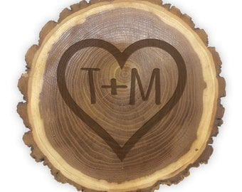 Personalized Rustic Log Plaque- 11098 Heart with Initials Personalized