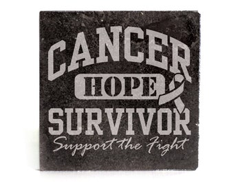 Coasters Set of 4 - black granite laser - 9920 Cancer Survivor