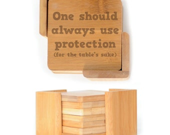 Wooden Square Coasters - Set of 6 with holder - 2585 One should always use Protection
