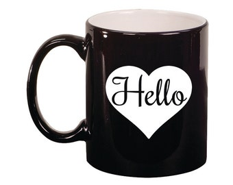 Engraved Ceramic Round Coffee and Tea Mug 11oz in various colors -8973 Hello