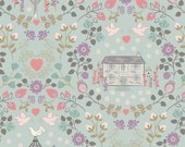 Dove House on Duck Egg Blue  165.2  - Lewis and Irene Fabric - By the Yard