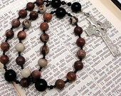 Crazy Horse Stone Anglican Prayer Beads with Pewter Celtic Cross