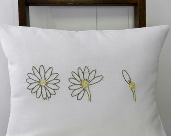 Daisy Petals. He Loves Me Lumbar Pillow Cover. Summer Decorative Pillows. Yellow and Gray. Modern Floral. Embroidered Throw Pillows.