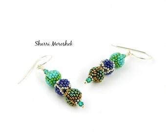 Beaded Bead Earrings - blue green silver