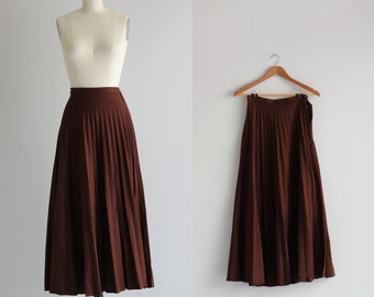 Pleated Maxi Skirt . 1970s Chocolate Brown Skirt . 70s Skirt