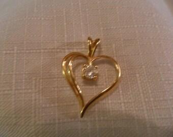 Vintage 14K Gold Heart with CZ Pendant