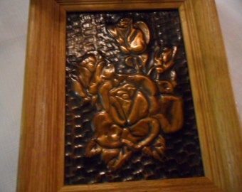 Vintage Copper Art Roses Picture