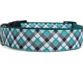 Plaid Dog Collar / Argyle Dog Collar / Boy Dog Collar / Nylon Webbing Dog Collar / Aqua & Grey Dog Collar
