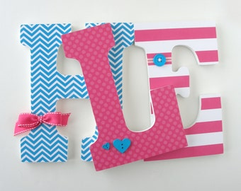 Hot Pink and Teal Letter Set for Nursery or Bedroom - Custom Wooden Letters - Baby Name Hanging Wall Letters