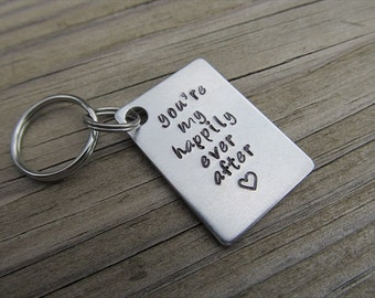 """Wedding/Anniversary Quote Keychain- """"you're my happily ever after"""" with heart - Hand Stamped"""