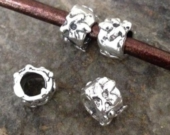 2 Artisan Slider Spacer Beads in Organic Sterling Silver  4.1mm ID For Thick Leather - MB19