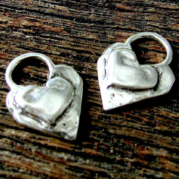 Heart Charms - 2 Artisan - Handcrafted Boho Double Heart Charms in Organic Sterling Silver - AP7