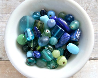 blue green destash blue glass bead mix india bead mix