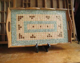 Mid Century Mosaic Serving Tray with Handles 1960s Tiled Tray Handmade