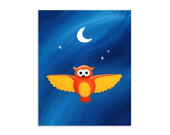Owl in Flight - Flying Owl with Moon and Stars Art