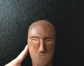 hand carved wood male head / man statue figurine