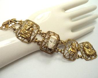 SELRO SELINI Asian Princess Bracelet Unsigned SELRO Wide Oriental