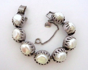 Vintage Signed Judy Lee Pearl Silver Tone Link Bracelet Costume Jewelry