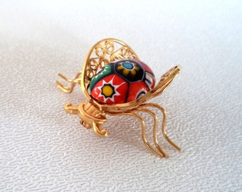 Vintage Signed OK 12K GF Millefiori Cabochon Insect Bug Brooch Pin Filigree Detailed Wings