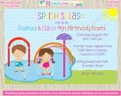 Splash party invitation splish splash invitation splash pad birthday invitation invite sibling water park splash park CHOOSE boy and girl