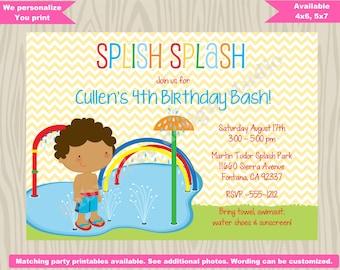 Splash pad birthday invitation invite splash party invitation pool party water park waterpark splash park CHOOSE YOUR BOY
