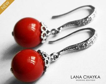 Red Coral Pearl Earrings Swarovski 10mm Red Coral Pearl Drop Pearl Wedding Earrings Red Pearl Jewelry Bridesmaid Earrings Red Dangle Earring