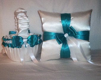 White Satin With Teal  Ribbon Trim Flower Girl Basket And Ring Bearer Pillow Set 1
