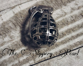 Large Grenade Pendant Army Pendant Antiqued Silver 3D Pendant Military Pendant 36mm Focal Pendant