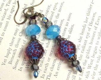Raspberry and Aqua Blue Earrings. Vintage Bead Stacked Earrings. Handmade.
