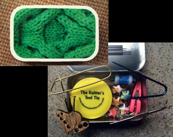 Gift for Knitters: Green Cables Knitter's Tool Tin with travel notions