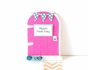 Tooth Fairy Door Girls Tooth Fairy Gift Personalized Tooth Fairy Garden Door Tooth Fairy Gift for Girls in Dark Pink