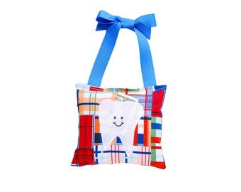 Tooth Fairy Pillow Boys Tooth Fairy Personalized Tooth Fairy Gift for Boys Personalized Tooth Fairy Pouch in Royal Blue Madras