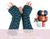 Knitting Kit , knit instructions for  fingerless gloves / arm warmers , diy kit pattern & super chunky yarn , cable knitting , gift for her