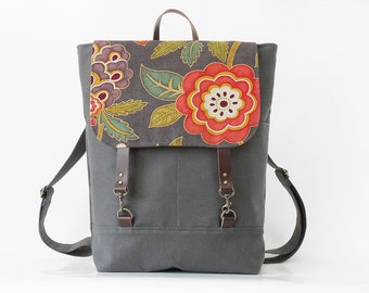 Gray blossom backpack, laptop bag  with leather closure and front pockets, Design by BagyBags