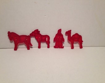 4 Vintage Red Plastic Circus Cookie Cutters Clown Camel Pony Donkey Baking Tools Crafts Collectibles All Everything Else Animals