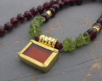 Colorful Gold Necklace - Garnet, Carnelian & Peridot Necklace - 24k Gold Pendant - Statement Necklace