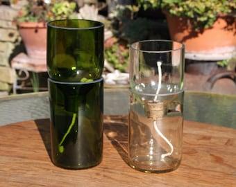 self watering reclaimed green bottle planter