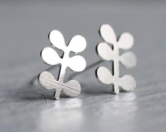 Silver Leaf Earrings ... Stud Post Sprig