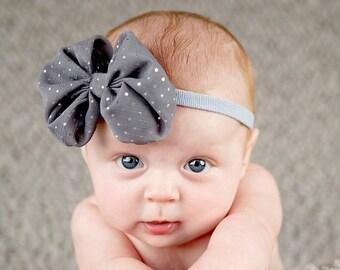 10% off SALE Newborn headband, baby headband, adult headband, photo prop The singlesprinkled- BIG Chiffon bow- stretch headband