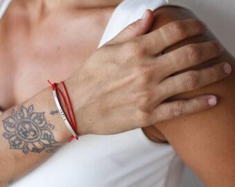 Skinny Bar Bracelet, Stacking bracelet, Sisters Bracelet, Bracelet, Red Bracelet, Cobalt Blue Bracelet, Handstamped Bracelet