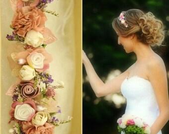 Bridal flower crown wedding flower crown headband Bridal Floral crown bridal headpiece pink bohemian bridal headband boho bridal headpiece