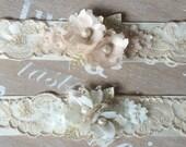 Blush and gold bridal belt, soft gold lace, detailed bridal belt, floral bridal belt, ivory wedding belt - 'Angelina'