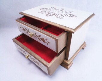 "White & Gold Jewelry Box Music Box Plays ""Somewhere My Love"" Vintage 70s"