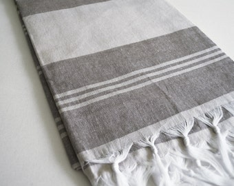 SALE 50 OFF/ Turkish Beach Bath Towel Peshtemal / Gray - Brown / Wedding Gift, Spa, Swim, Pool Towels and Pareo