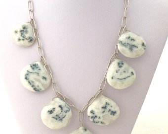 SOLAR QUARTZ NECKLACE Large Drops Sterling Silver Chain