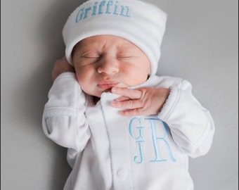 Baby boy coming home outfit, Monogrammed footie, Personalized Baby gift, Monogrammed sleeper, pima cotton, newborn pictures, shower gift